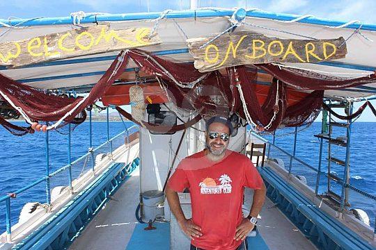 Skipper auf Boot Rhodos