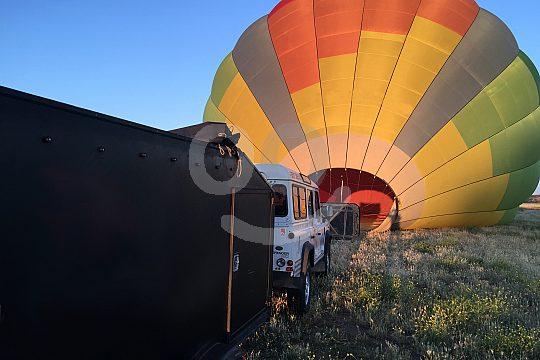 Aufblasen des Heißluftballons