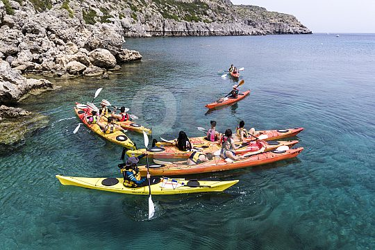 Kajak Ausflug im Urlaub auf Rhodos