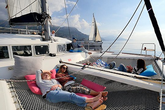 entspannen auf dem Katamaran
