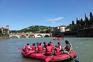 Verona Rafting Tour auf der Etsch kombiniert mit Fahrrad inkl. Guide