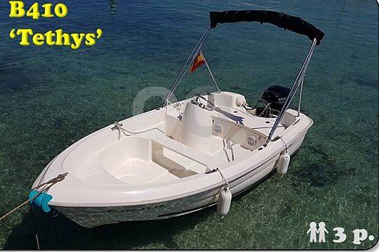 Führerscheinfreies Motorboot Tethys mieten