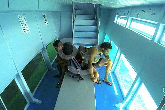el barco de visión submarina de Cala Ratjada