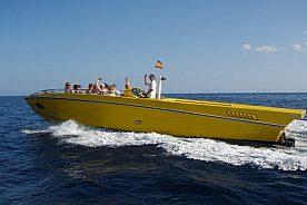 Mit dem Speed Boot an der Küste fahren Ibiza