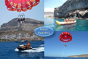 Paquete acuático Nº 1:  Jet Ski, Parasailing y Bananaboat en Gran Canaria en el suroeste