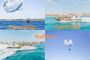 Paquete combinado de deportes acuáticos en Mallorca: Parasailing y speedboat
