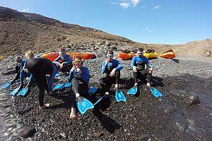 Excursión en kayak con snorkel en Fuertventura en el sureste de la Isla