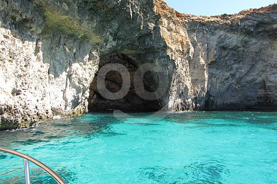 Caves in the bay of Comino