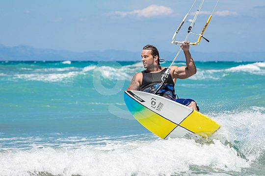 Kiting on the beach of Theologos