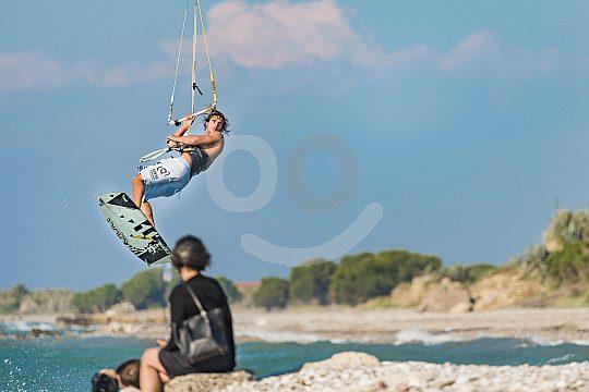 Stunt kite sailing on Rhodes