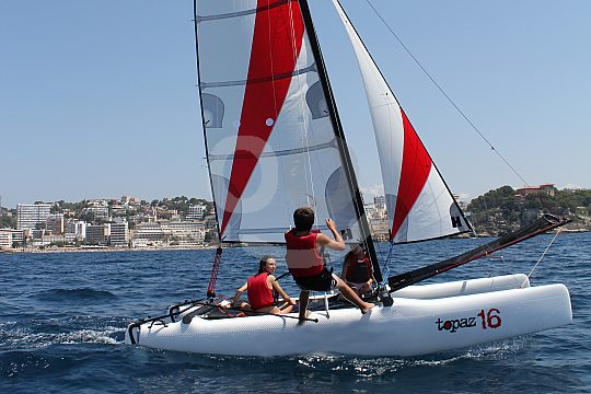 Catamaran sailing at Majorca's southwestern coast