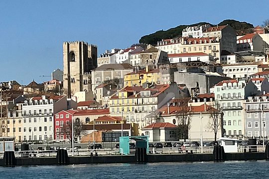 Lisbon's old town scenery while sailing
