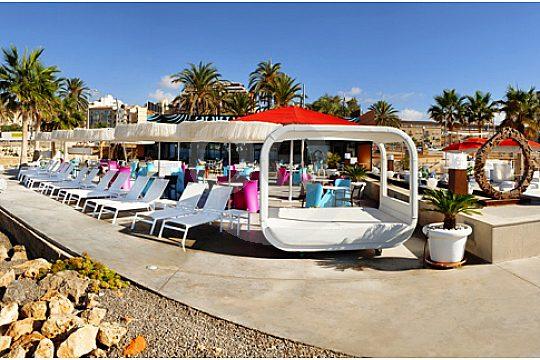 anima beach club terrasse at the beach of palma de mallorca
