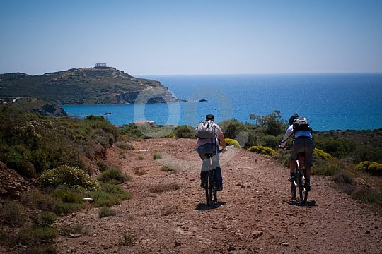 mountain bike tour Athens Aegean coast Cape Sounio
