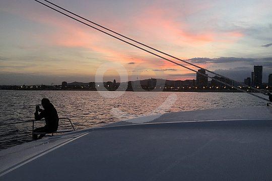 boat trip in Barcelona catamaran