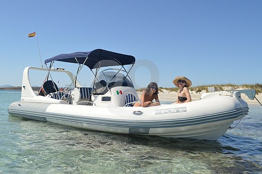 inflatable boat with sun sail Formentera