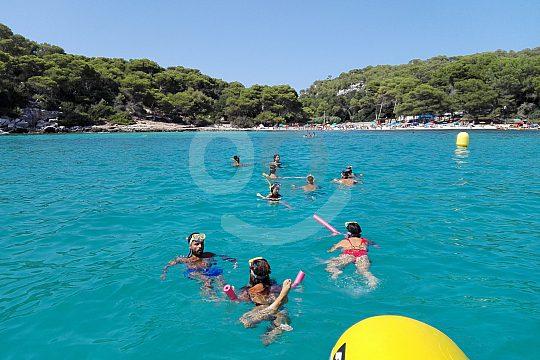 swimming in the beautiful bay of Menorca