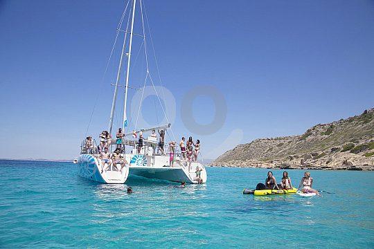 Catamaran in a cove in Mallorca