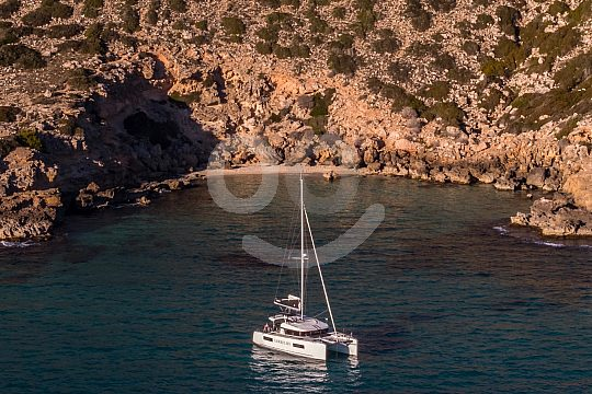 Beach Mallorca with catamaran