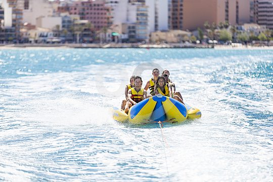 With the banana boat in the Playa de Palma
