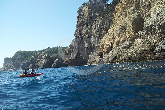 paddle with the kayak near Barcelona