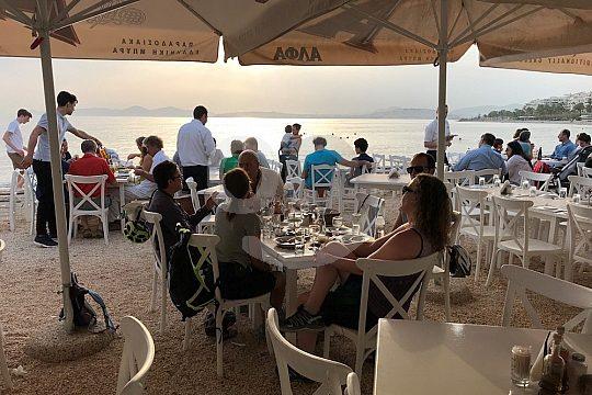 athens e-bike tour beach restaurant visit