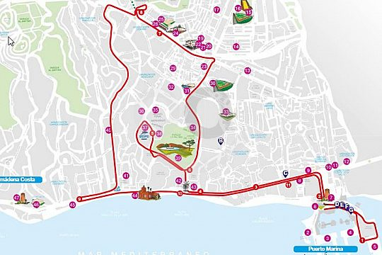 Bus stops of the city sightseeing tour in Benalmadena