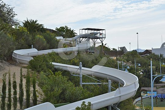Slides at the water park in Benidorm