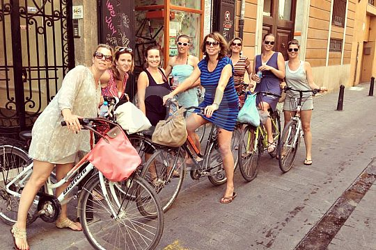 group at cycling in Valencia