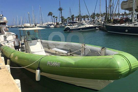Benalmadena at the Costa del Sol in a boat