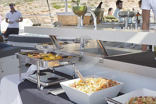 buffet on the catamaran