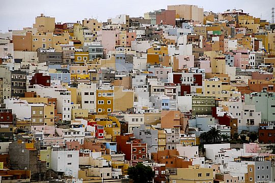 Coloured houses in Las Palmas in Gran Canaria