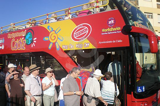 open double-decker sightseeing bus