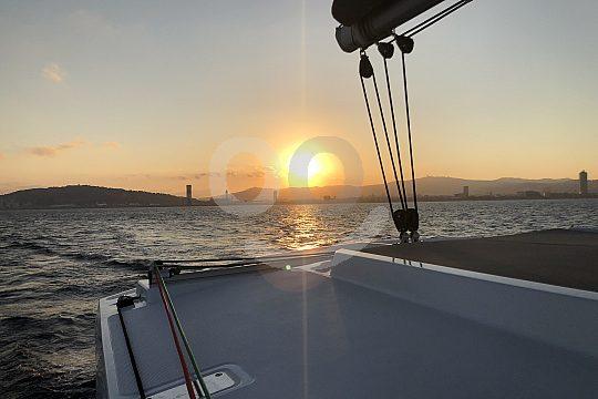 sailing catamaran trip Barcelona sunset