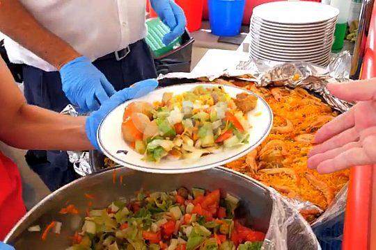 lunch paella fuerteventura boat trip sailing catamaran