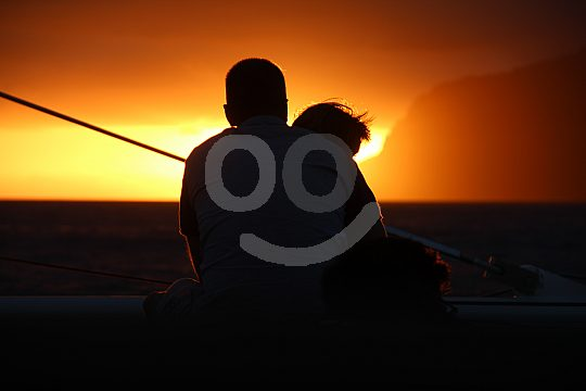 Sunset on a catamaran on madeira