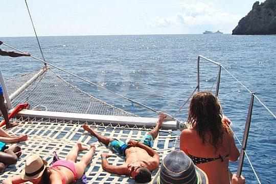 sunbathing at the catamaran from Puerto Pollensa