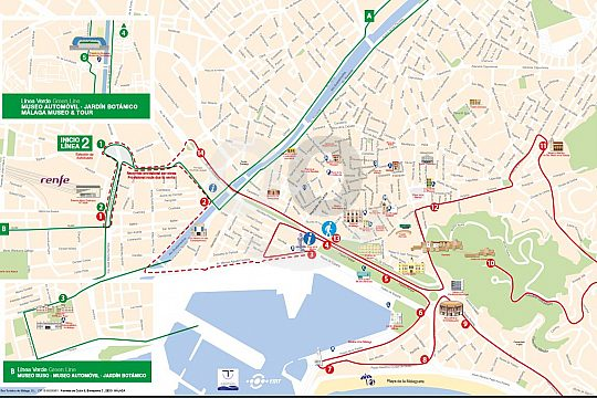stops of the Màlaga City Sightseeing Bus