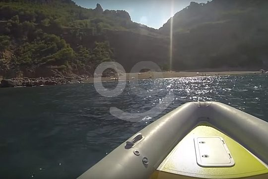 with the speedboat along the shore