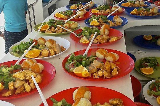 Food and drinks on board the catamaran