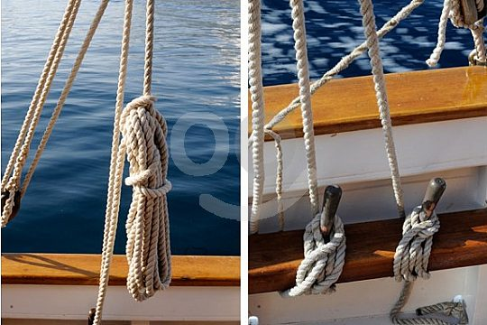 knots on a traditional sailing boat