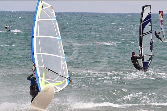 Windsurfing on the Ebro Delta nature reserve in Riumar