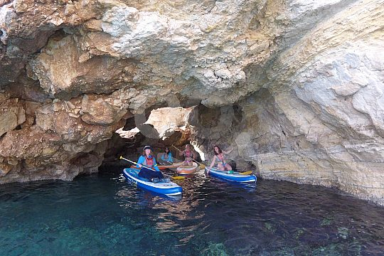 along the cliffs at SUP in Loutraki bay