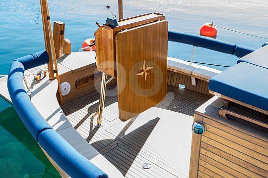 on deck of the Mallorcan Llaut