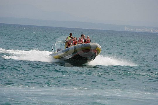 during the speedboat tour in Mallorca