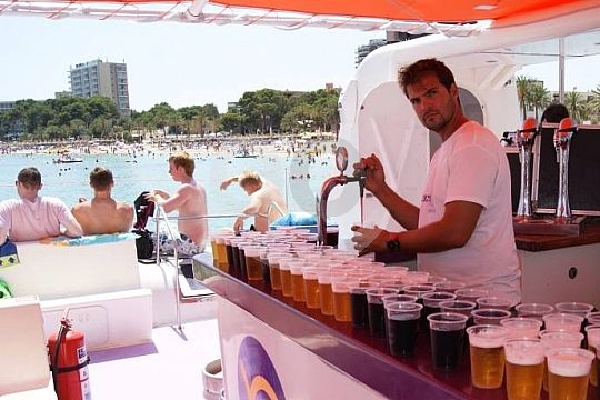 free drinks at the boat party in Magaluf