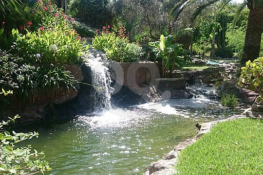 waterfall at the golf course in Mallorca