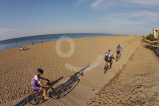 mountain biking on the beach of Dénia