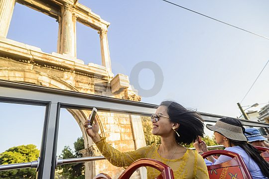 Athens double-decker bus tour with open hood