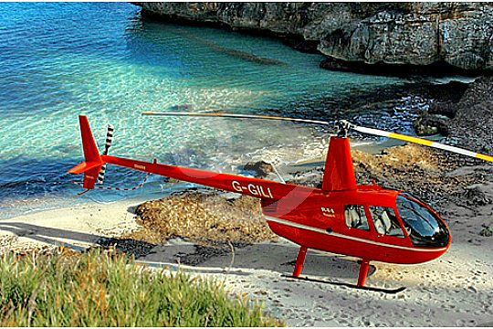 Red helicopter in Mallorca